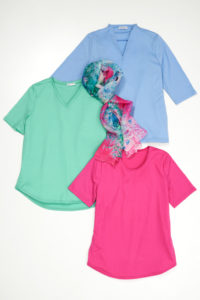 Merino Woolen T-Shirts that are pale blue forest green and pink with a scarf in the middle